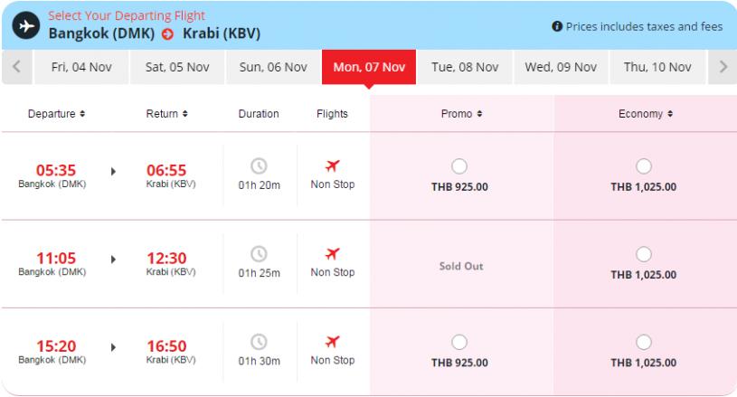 Авиабилеты Бангкок — Краби на ноябрь