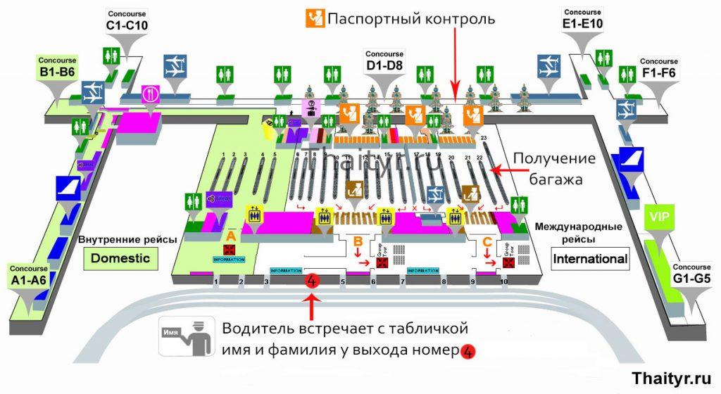 Cхема аэропорта Бангкока суварнабхуми на русском языке