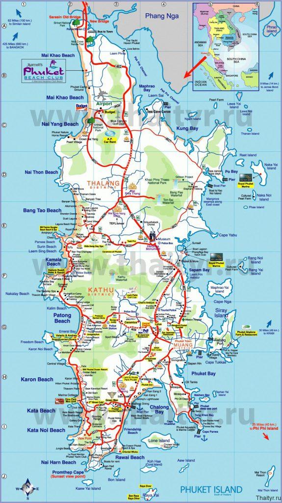 Подробная карта Пхукета с пляжами
