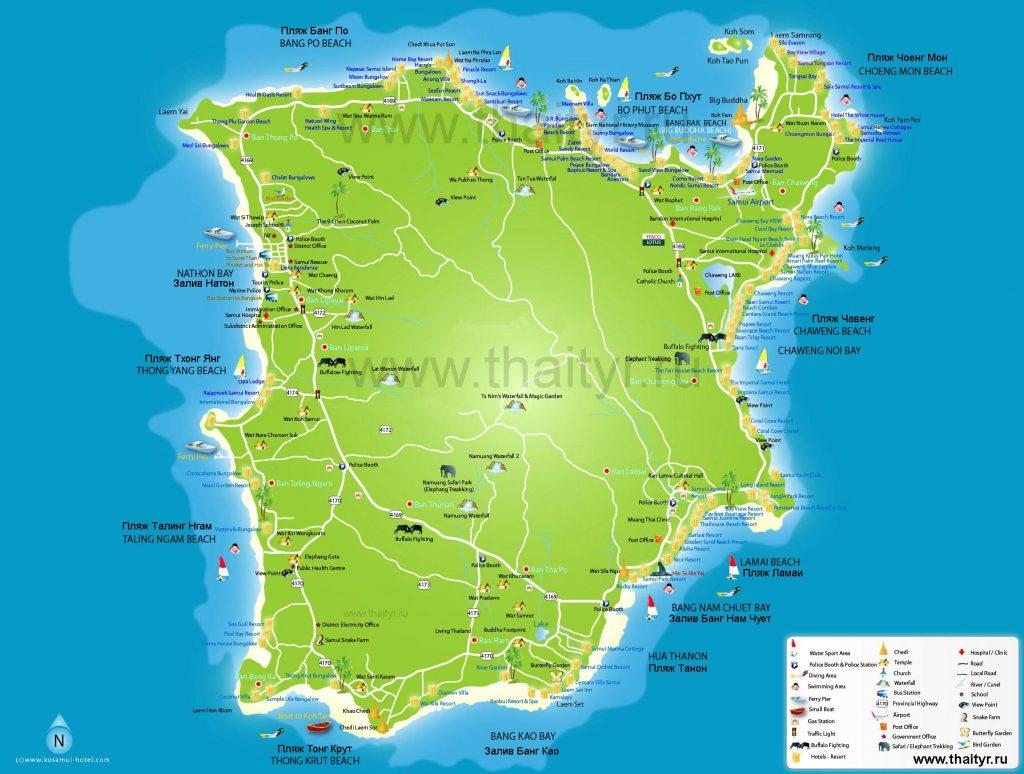 Карта острова Самуи с пляжами на русском языке